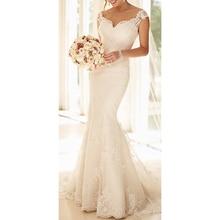 PADEGAO 2018 Lace Mermaid Wedding Dresses Cap Sleeve