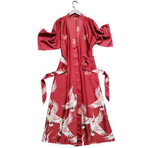 Image 5 - Summer Women Silk Short Sleeve Bridesmaid Robe Sexy Lingerie Sleepwear Nightgown Elegant Robes Satin Print Kimono Bathrobe