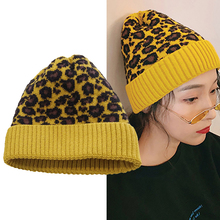 hot deal buy new leopard hat winter warm knitted caps wool leopard beanies warm knitting thick fashion ladies skullies & beanies female wh049