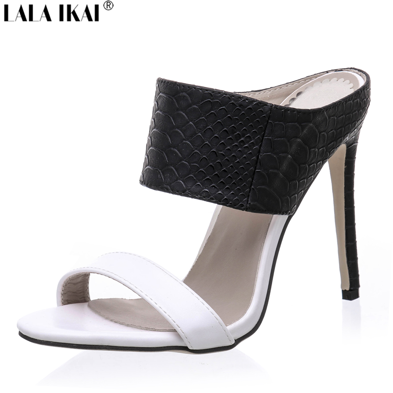 Summer Sandals Women Mixed Colors High Heels Mules Shoes