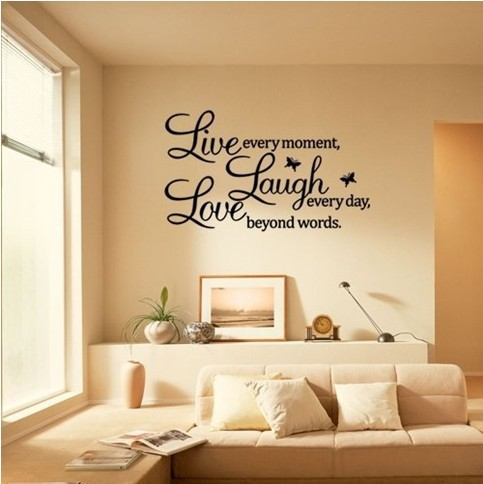 Live Laugh Love Wall Art Quote Butterflies (Transparent Border) 40*60cm  Removable Wall