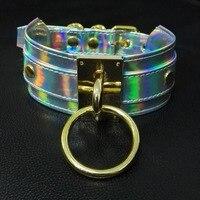 Ручной Косплэй негабаритных Серебряный лазерной голографической колье золотой воротник Фетиш BDSM Collar Цепочки и ожерелья