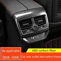 ABS plastic Car armrest Box outlet Rear Frame lamp decoration stickers for Peugeot 3008 5008 3008GT 2017 parts Auto Accessories