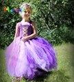 Meninas bonitos Do Bebê Dos Desenhos Animados Vestido Tutu Rapunzel Princesa Vestidos Da Menina Cosplay Vestido Tutu Halloween Costume Foto Props