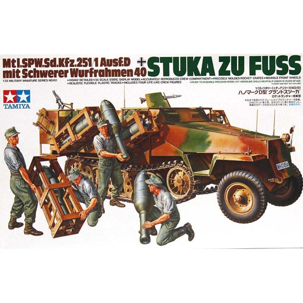 OHS Tamiya 35151 1/35 Stuka ZU Fuss Mtl-Spw Sd Kfz 251/1 Ausf D Wurfrahmen 40 Military Assembly AFV Model Building Kits oh realts rmf rm 5010 1 35 sd kfz 181 pz kpfw vi ausf e tiger i middle production