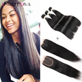 Malaysian Straight Hair With Closure 8a Grade 3/4 Bundles Human Hair Weave With Lace Closure Malaysian Virgin Hair With Closure
