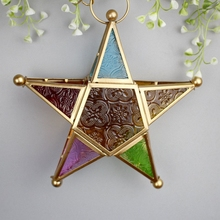 PINNY European Iron Pentagram Wall Mounted Candle Holders Romantic Wedding Candlestick Decoration Home Moroccan Lamp