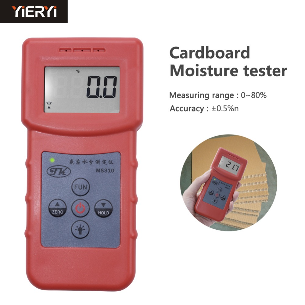 yieryi MS310 Inductive Moisture Analyzer Wood Moisture Meter For Wood Timber Paper Bamboo Carton Concrete Metope And Oth