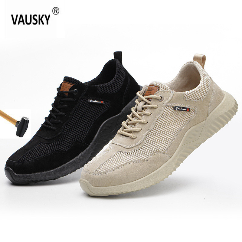 Men's steel nose indestructible shoes safety work shoes mesh breathable casual sports shoes to prevent perforated protective