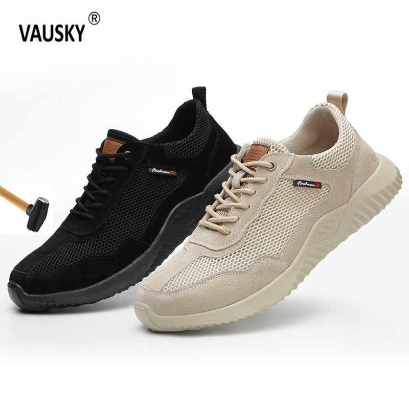 Erkek çelik burun yıkılmaz ayakkabıları güvenlik iş ayakkabısı örgü nefes rahat spor ayakkabı önlemek için delikli koruyucu