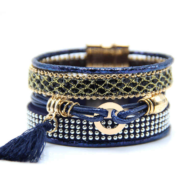 Fashion Multilayer Boho rhinestone Leather Tassels Magnet Bracelet hot-selling