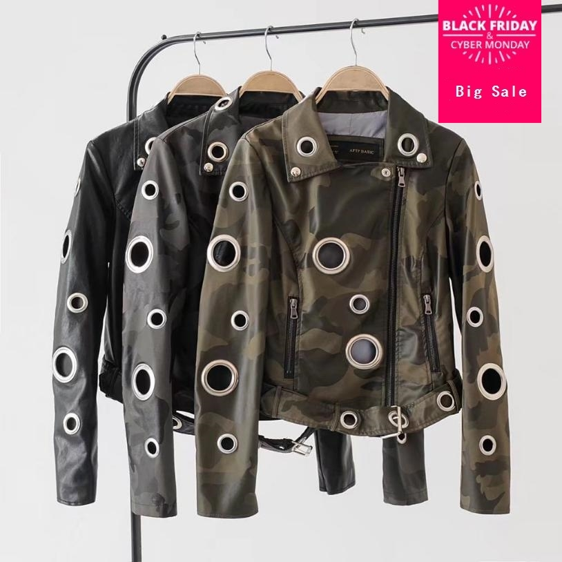 2018 Autumn fashion Camouflage Army Green Rivet PU   Leather   Jacket Women Metal circle Hollow Out Moto Coat Punk outwearL1075