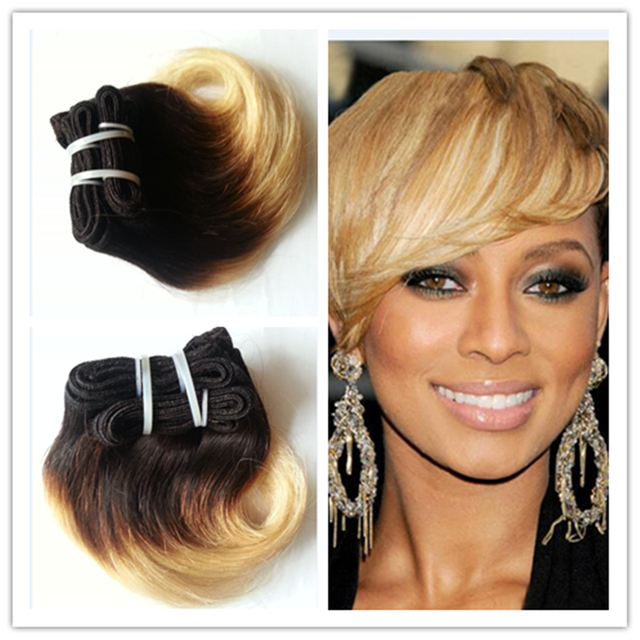 Full Shine Brazilian Short Weave Hair Extensions Remy Hair B  Ombre Body Wave Short Hair