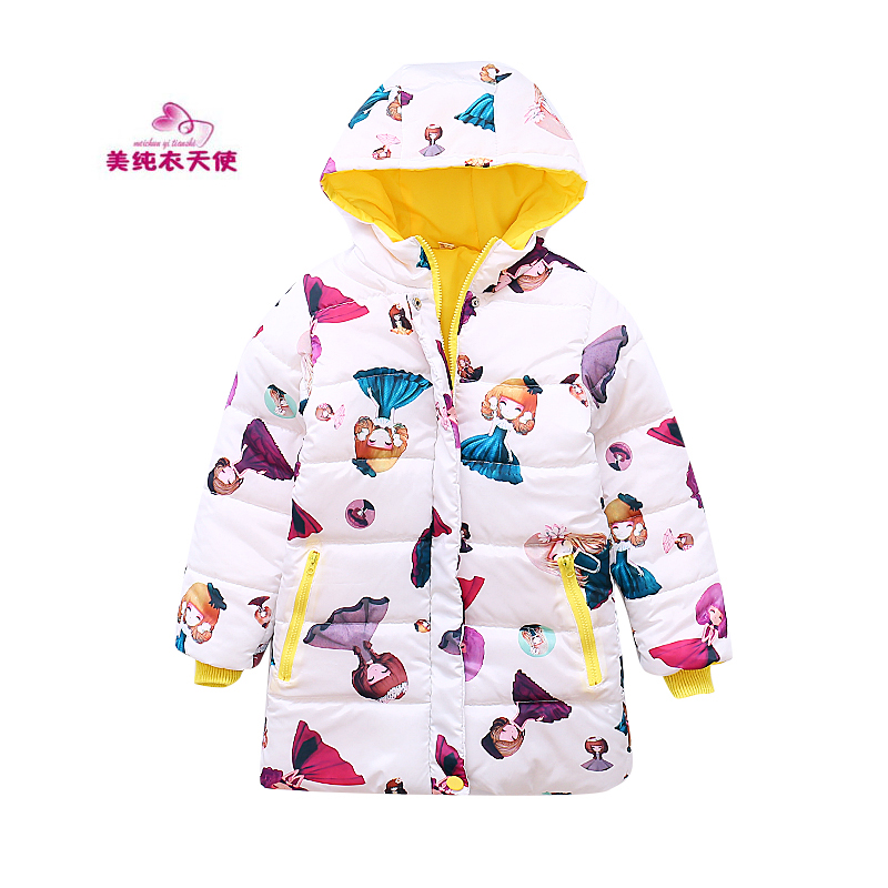 2017 New Cartoon Girls Winter Coats And Jackets Fashion Leisure Girls Hooded Warm Coat 4 5 6 7 8 9 10 11 12 Years Kids Outerwear olekid 2017 new cartoon rabbit winter girls parka thick warm hooded children outerwear 5 14 years teenage girls sweater coat
