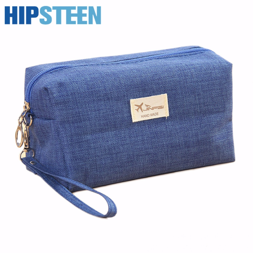 HIPSTEEN Travel Women Cosmetic Bag Makeup Case Zipper Hand Holding Make Up Cosmetics Bag Organizer Storage Pouch Wash Bags