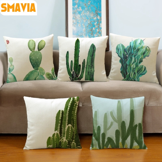 SMAVIA Fashion Africa Tropical Plant Cushion Covers Cactus Pillowcase Seat  Decor Car/Chair/Office