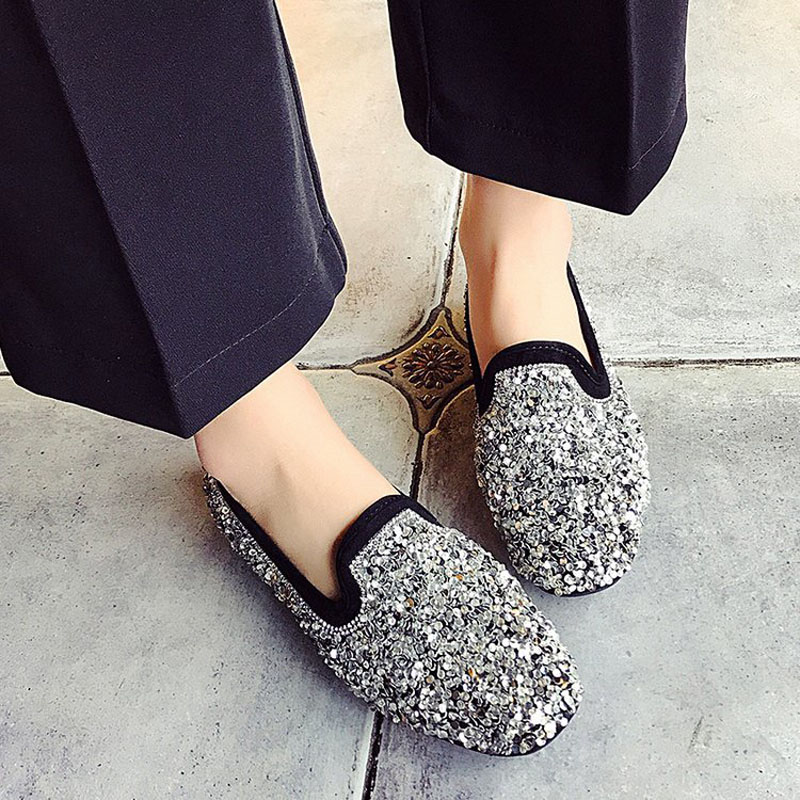 Tsmile Women Sandals Ladies Fashion Crystal Bling Round Toe Shoes Flat Sequin Casual Loafers Sandals