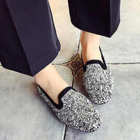 HEE GRAND 2019 New Women Bling Flats Slip On Ladies Glitter Loafers Spring Comfort  Round Toe Casual Silver Flat Shoes XWD7138