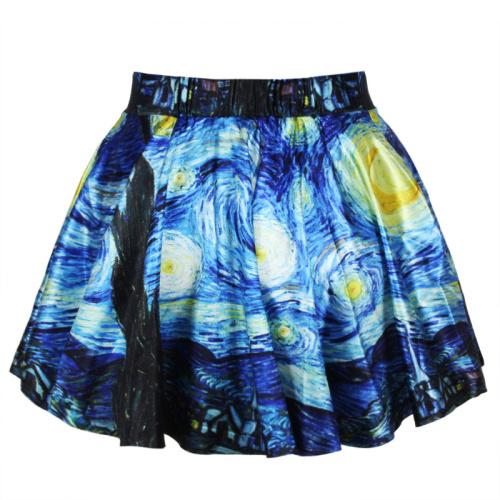 R16 2015 Novo verão saias das mulheres saias plissadas Noite Estrelada de Van Gogh Impresso Saia