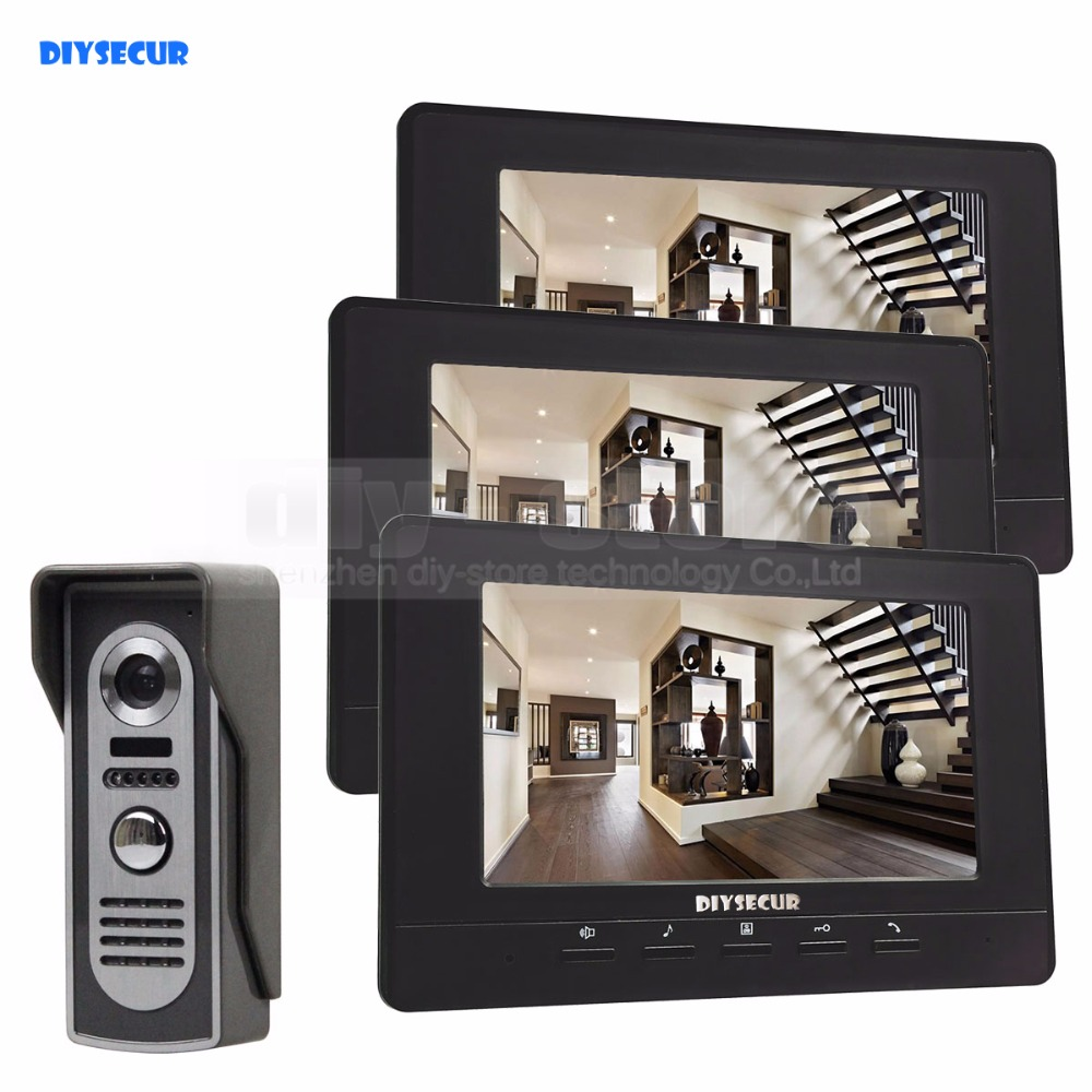 DIYSECUR 7inch Digital Screen Video Intercom Video Door Phone IR Night Vision Outdoor Camera Black 1v3 aputure vs 1 v screen digital video monitor