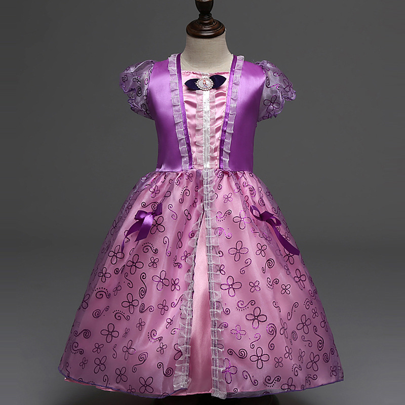 High Quality Girls Party Dresses Kids Summer Princess Dresses for Girls Rapunzel Belle Cosplay Costume Wedding Dresses