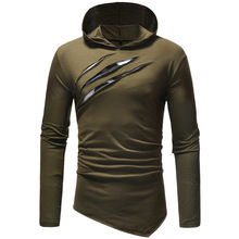 Hooded men's T-shirt spring and autumn new long-sleeved streetwear