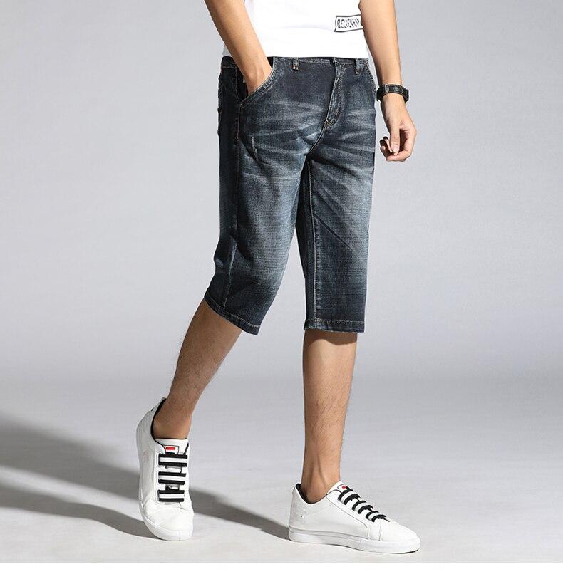 KSTUN Summer Shorts Jeans Men Denim Pants Black Blue Fashion Design Men's Jeans Slim Fit Stretchy Good Quality Male Jeans Hombre 13