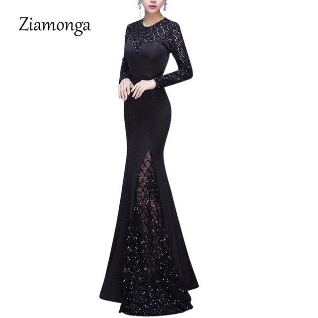 07ce7f814f Vestido elegante ziamaga largo 2018 para fiesta de noche de invierno para  mujer trompeta Sexy vestido