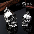 2016 New Big Stainless Steel 3D Skull Pendant Neckalce For Man Biker Punk Collection Skull Jewelry BP8-042