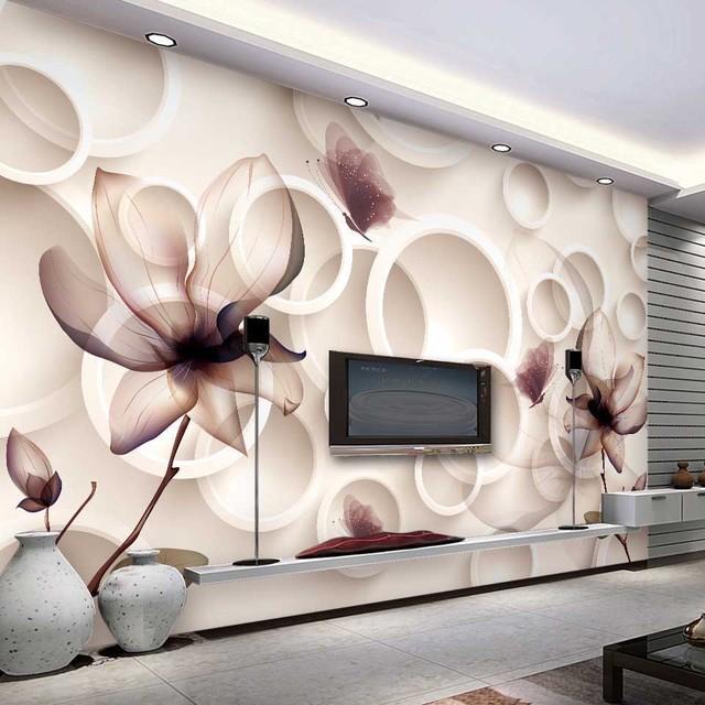 GroBartig Moderne Wallpaper Für Wände 3D Lotus Wandaufkleber Abstrakte Kunst  Wasserdicht Für TV Bad Wohnzimmer Wandbild Meerjungfrauen