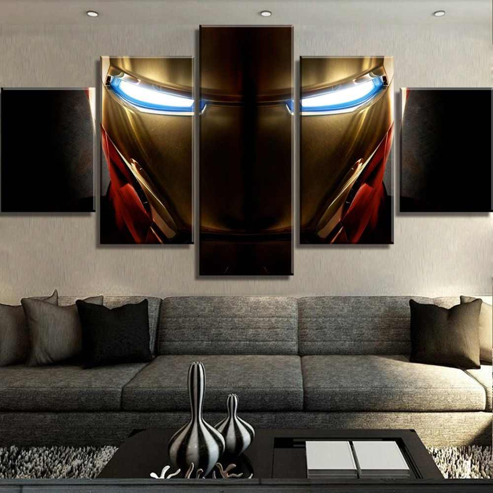 HD Print 5 Piece Canvas Art Iron Man Marvel Movie Poster Paintings on Canvas Wall Art for Home Decorations Wall Decor Framework