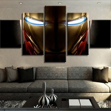 HD Print 5 Piece Canvas Art Iron Man Marvel Movie Poster Paintings on Wall for Home Decorations Decor Framework