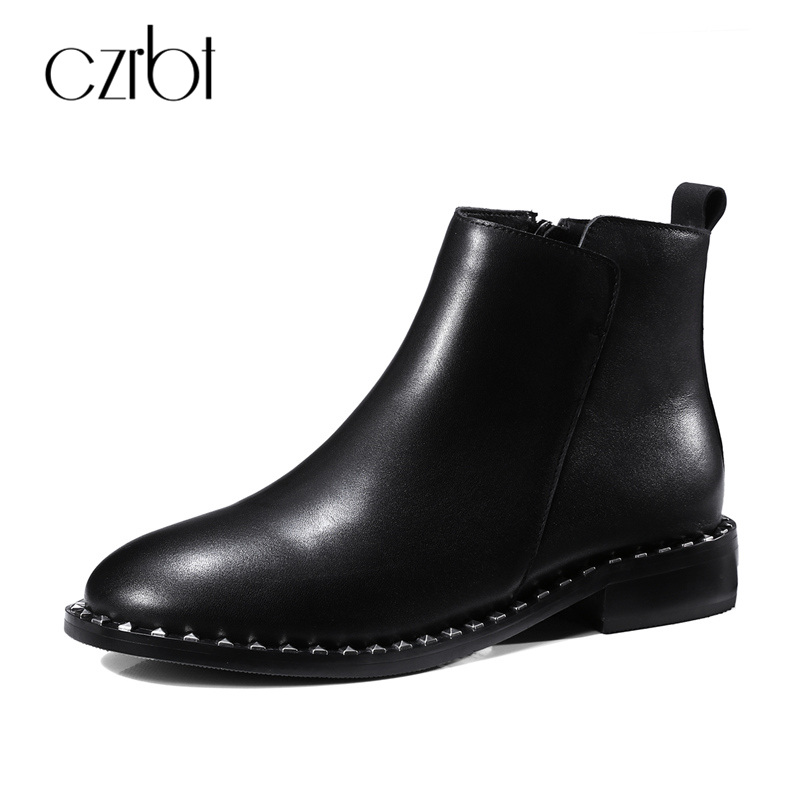 CZRBT Luxury Brand Women Top Quality Leather Shoes Fashion Rivet Side Women Chelsea Boots Ladies Low Heels 3cm Ankle Boots handmade quality custom sexy charm contracted style leather side zippers rivet women s knight boots