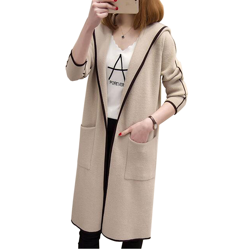 Autumn Jacket Cardigan Women Long Sleeve Knitted Ladies Sweater Loose Outwear Hooded Cardigan Casual Coat 2017 new Sweater LU431 jones new york new black solid open front women s xl cardigan sweater $69 167
