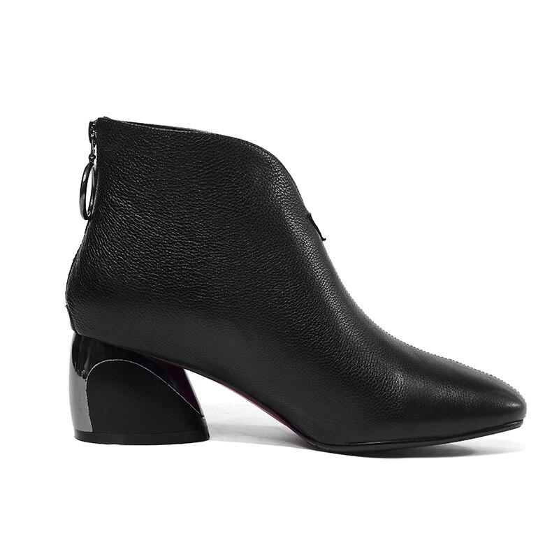 2414a27e2fbc92 Inhabituel Talon Haute Carré En Noir Zip caramel Wetkiss Vache 2019 Bout  Noir Bottines Femme beige Cuir Nouveau Colour Boot Chaussures Femmes Femelle  ...