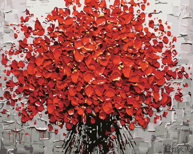 Hq Yiwu Decor Rote Blume Diy Malen Nach Zahlen Handgemalte Acryl