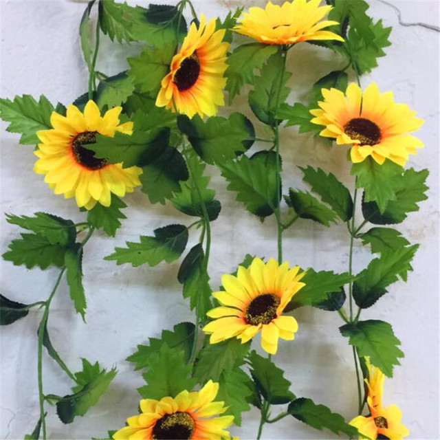 10pcs artificial sunflower vines simulation yellow sunflower vine 8 10pcs artificial sunflower vines simulation yellow sunflower vine 8 flower heads 220cm long for home party mightylinksfo