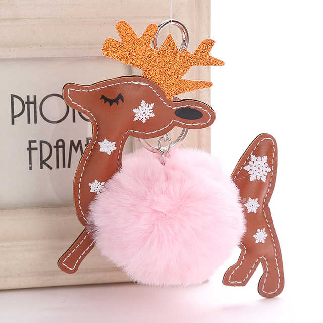 1 Pcs Fofo Faux Rabbit Fur Bolsa Pingente de Chave Do Carro Anel Keychain Renas Veados Jóias Xmas Gift Hot New