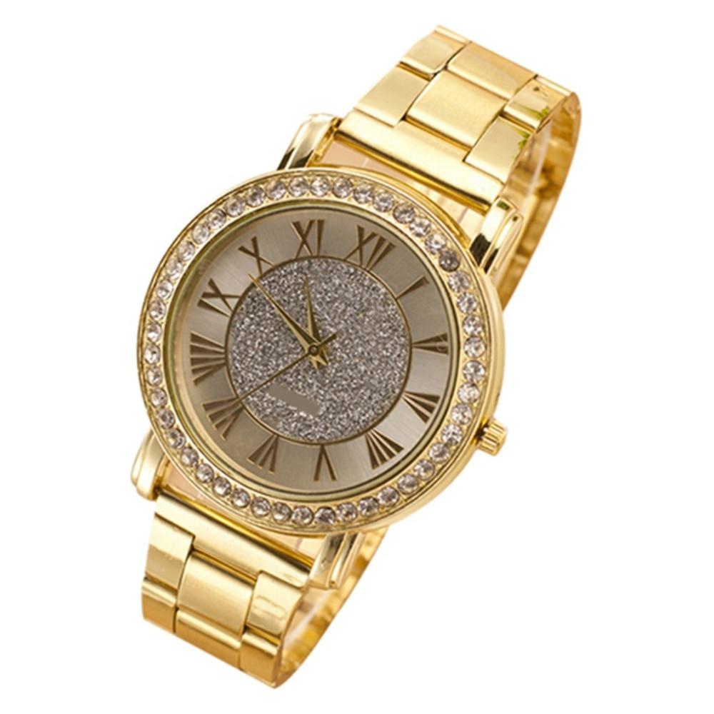 Mens Retro Gold Plated Relogio Crystal Business Casual Alloy Relojes Analog Quartz Wrist Watch