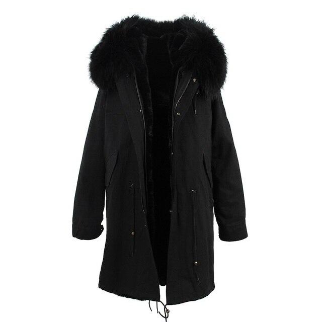Warme Zwarte Winterjas.J Z H 2017 Winterjas Vrouwen Zwarte Echte Wasbeer Bontkraag