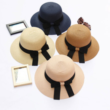 цена на New Bowknot Straw Sun Hat Women Summer Beach Caps for Lady Boater Hat Folding Beach Girls Wholesale