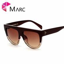 MARC UV400 WOMEN MEN fashion sunglasses Oversize gafas Sol oculos eyewear Trend Leopard Oval Gradient Green Brand Plastic Clear