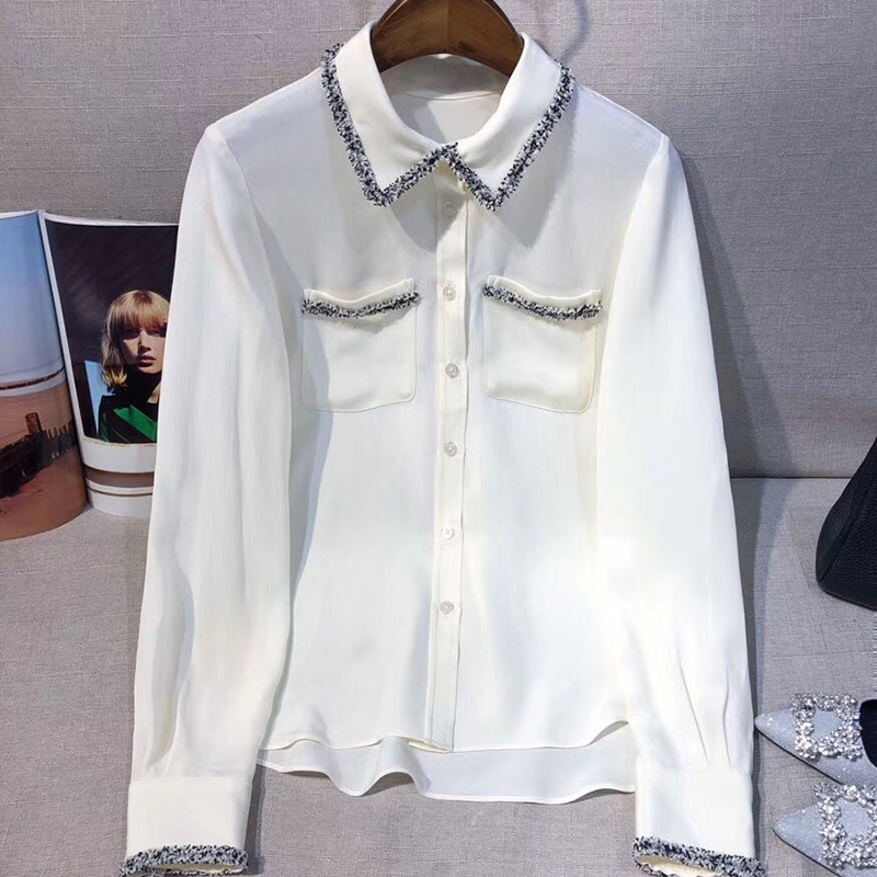 Shirt Blouses 2019 À Mode Tops Et down De Noir Longues Manches Soie Chemisier blanc Turn Femmes Blanc Collar zqgZ4xzwp