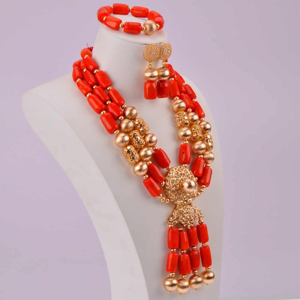 Красивые африканские коралловые бусины ожерелье набор украшений для женщин нигерийские Свадебные Ювелирные наборы CBS42