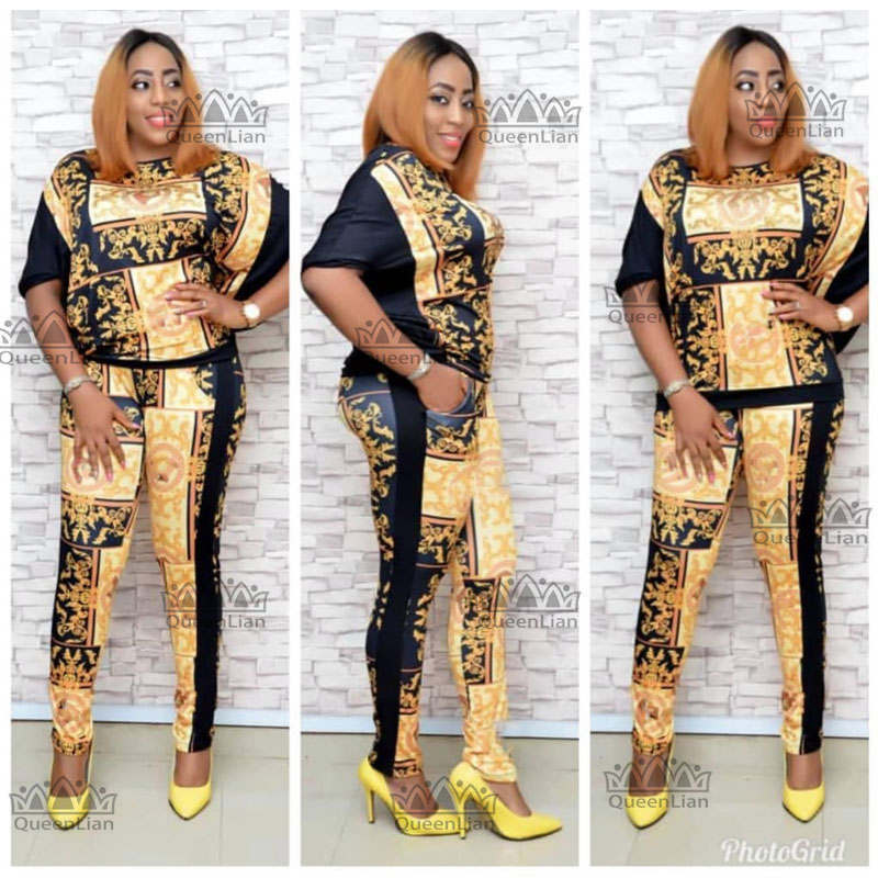 2019 African  Dashiki New Dashiki Fashion Suit (Top And Trousers) Super Elastic Party Plus Size For Lady TZBF05#