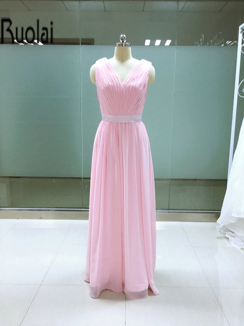2016 Real Picture Light Pink Chiffon A Line V Neck Sleeveless Long ...