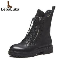 LebaLuka женщина половины полусапожки женская обувь из натуральной кожи зимние заклепки Модная женская обувь на молнии обувь размеры 34–42