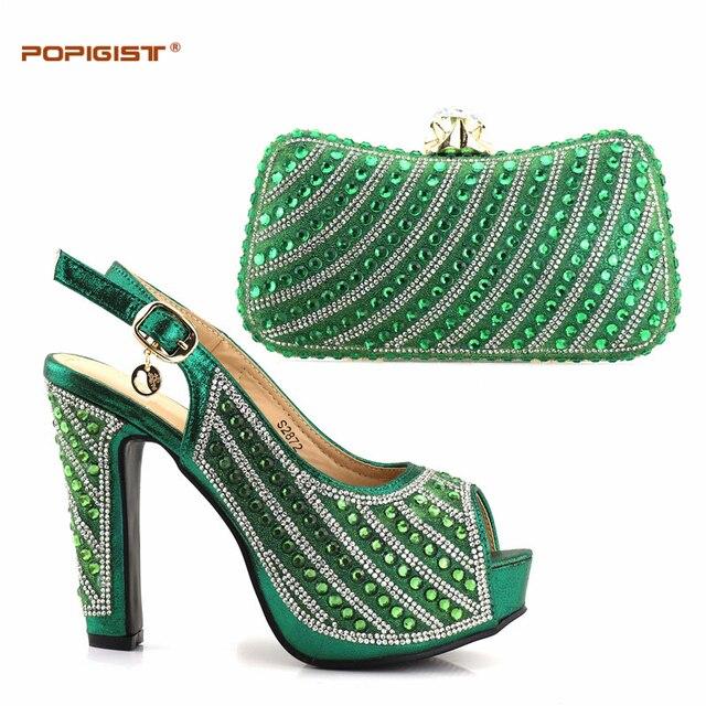 Mais recente Africano Define Cor Verde Sapatos Italianos Combinando com Sacos de Alta Qualidade Mulheres de Sapato e Bolsa Para Combinar para Festas