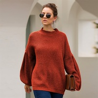 Women's Elegant Lantern Sleeves Baggy Style Sweater Knitted Pullovers Autumn Winter Loose Sweater Women Warm Chic top Outerwear