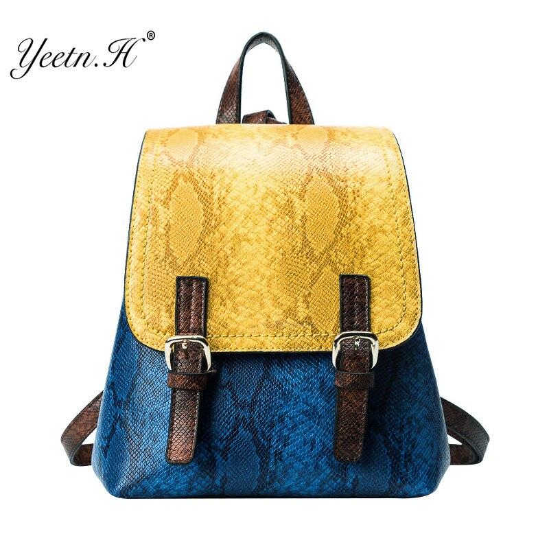 Yeetn.H Womens Serpentine Split Leather Backpack Schoolbag Serpentine Beautiful Backpacks Women High Quality Travel bag Y4047